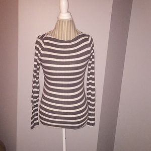 Grey and white striped long sleeved top